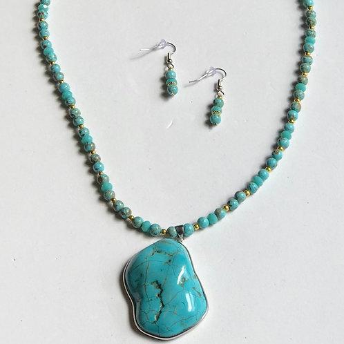 Turquoise & Gold Oblong Set