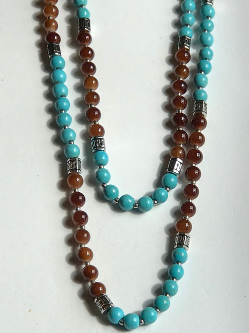 Turquoise & Brown Layer Necklace