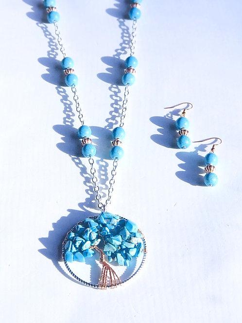 Turquoise Tree Necklace Set