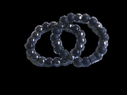 Hematite & Onyx Bracelet Set