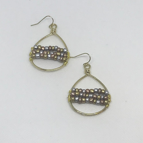 Tri-Color Sead Bead Earrings