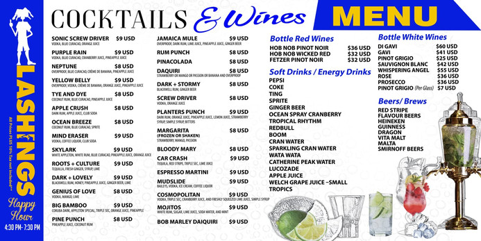 Lashings drinks menu