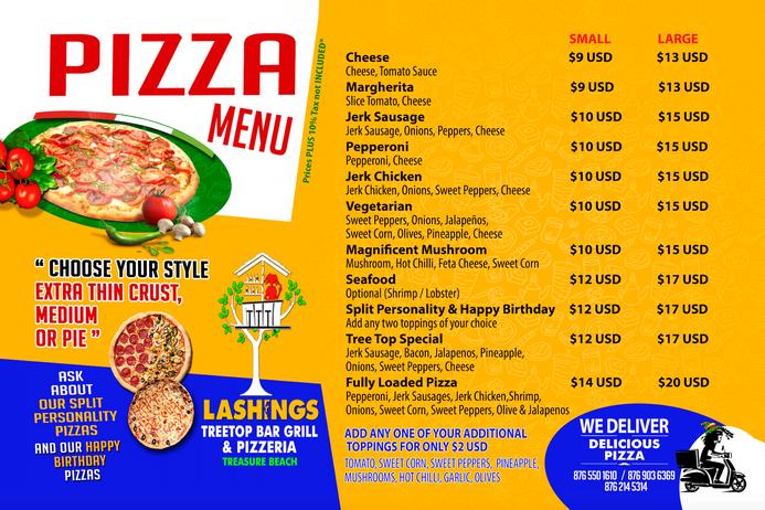 Lashings pizza menu