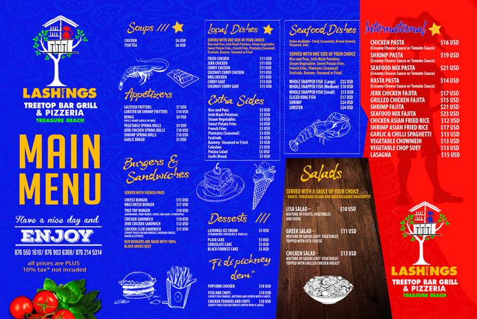 Lashings main menu