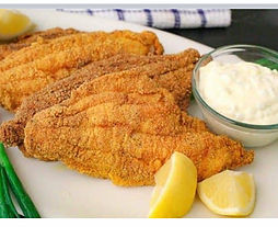 Golden Fried Fish with tartar sauce and lemon from kandmsalmonballs