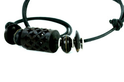 Cylindrical Celtic Leather Necklace