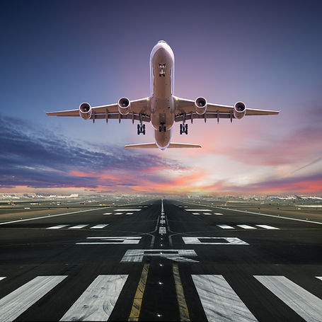 Airplane taking off from the airport, front view..jpg