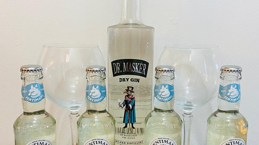 Pack Gin Dr. Masker 750cc + 4 Tónicas Premium + 2 Copones de Gin