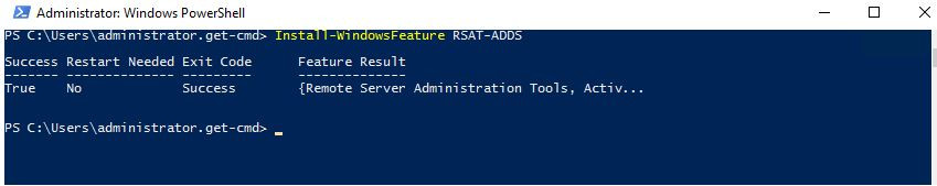 Install-WindowsFeature RSAT-ADDS
