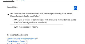 VM Agent is unable to contact with the Azure Backup Service - Windows VM Error
