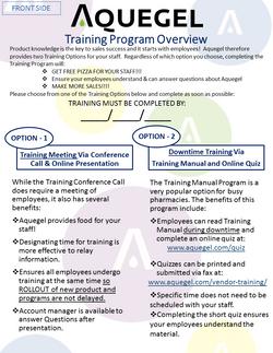 Training Program Overview - 4