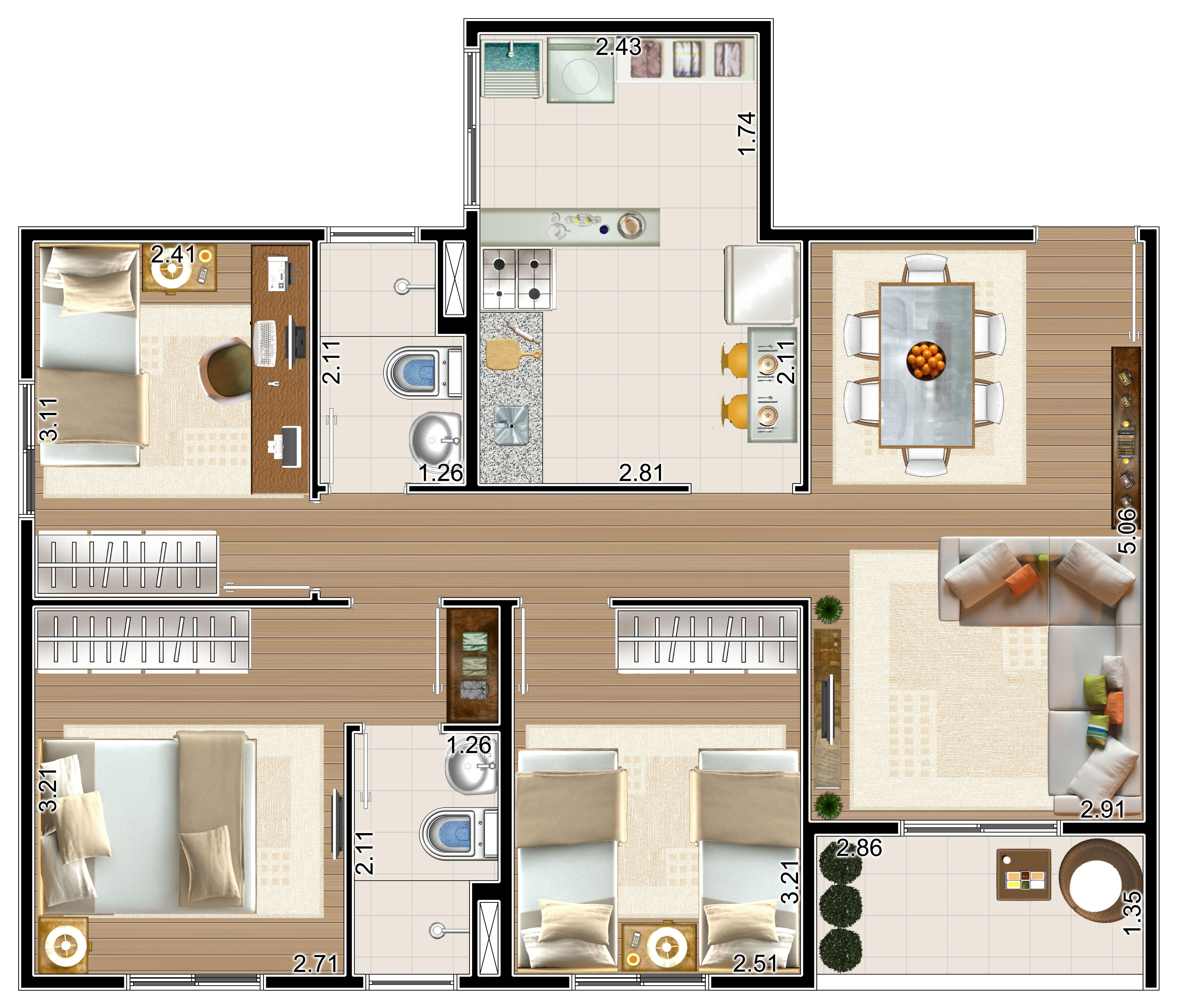 Apartamento com 71m²