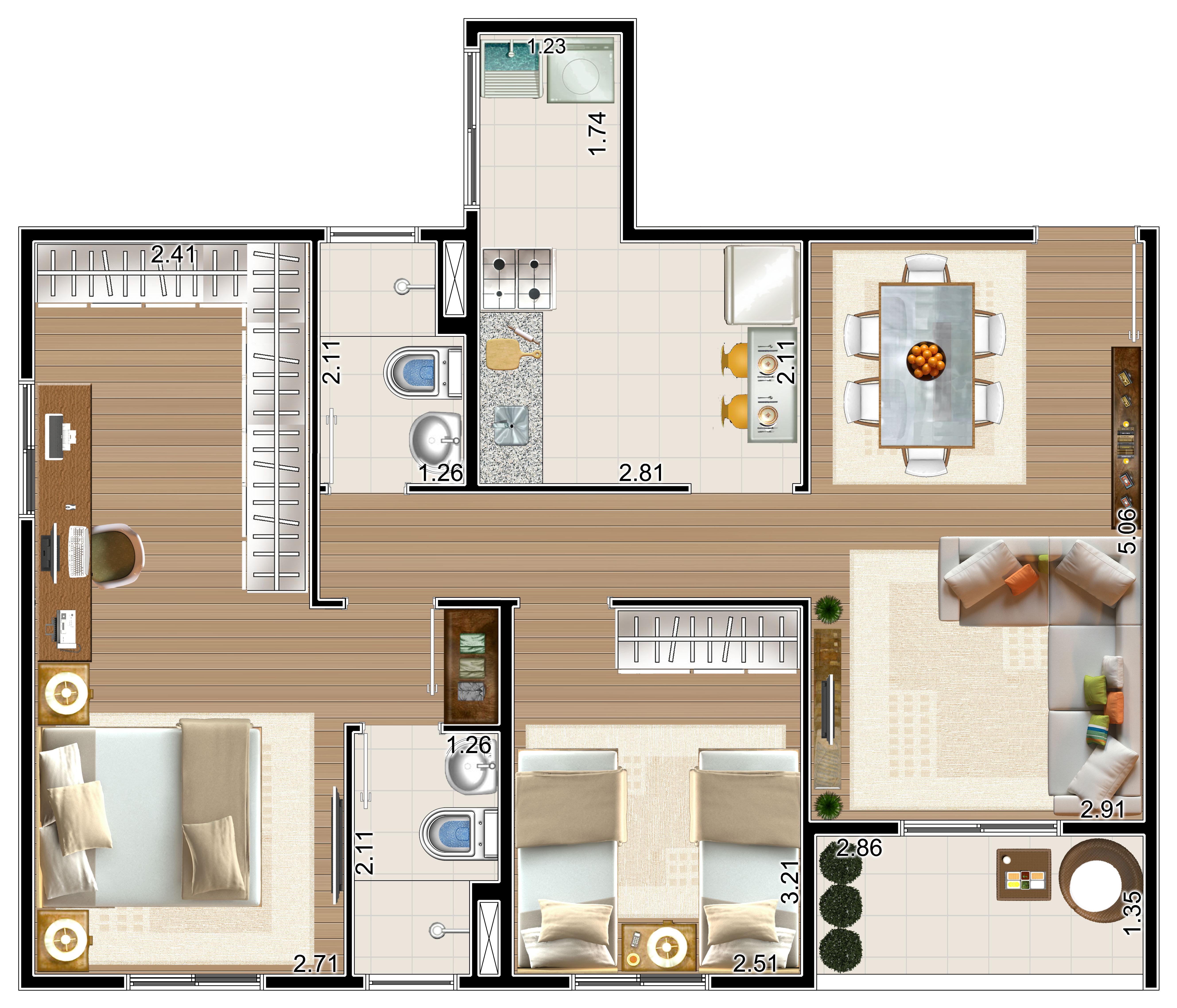 Apartamento com 69m²-suíte ampliada