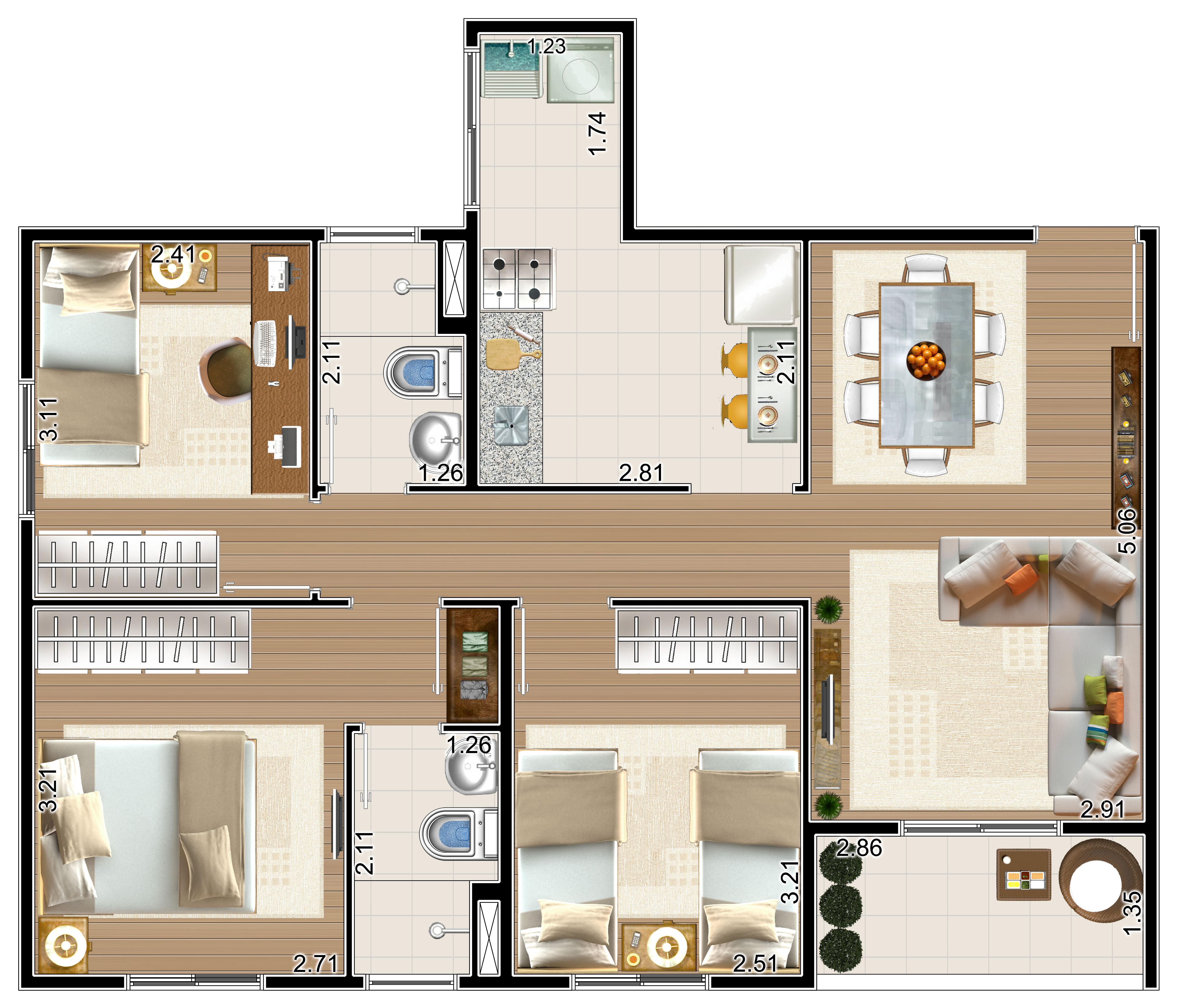 Apartamento com 69m²
