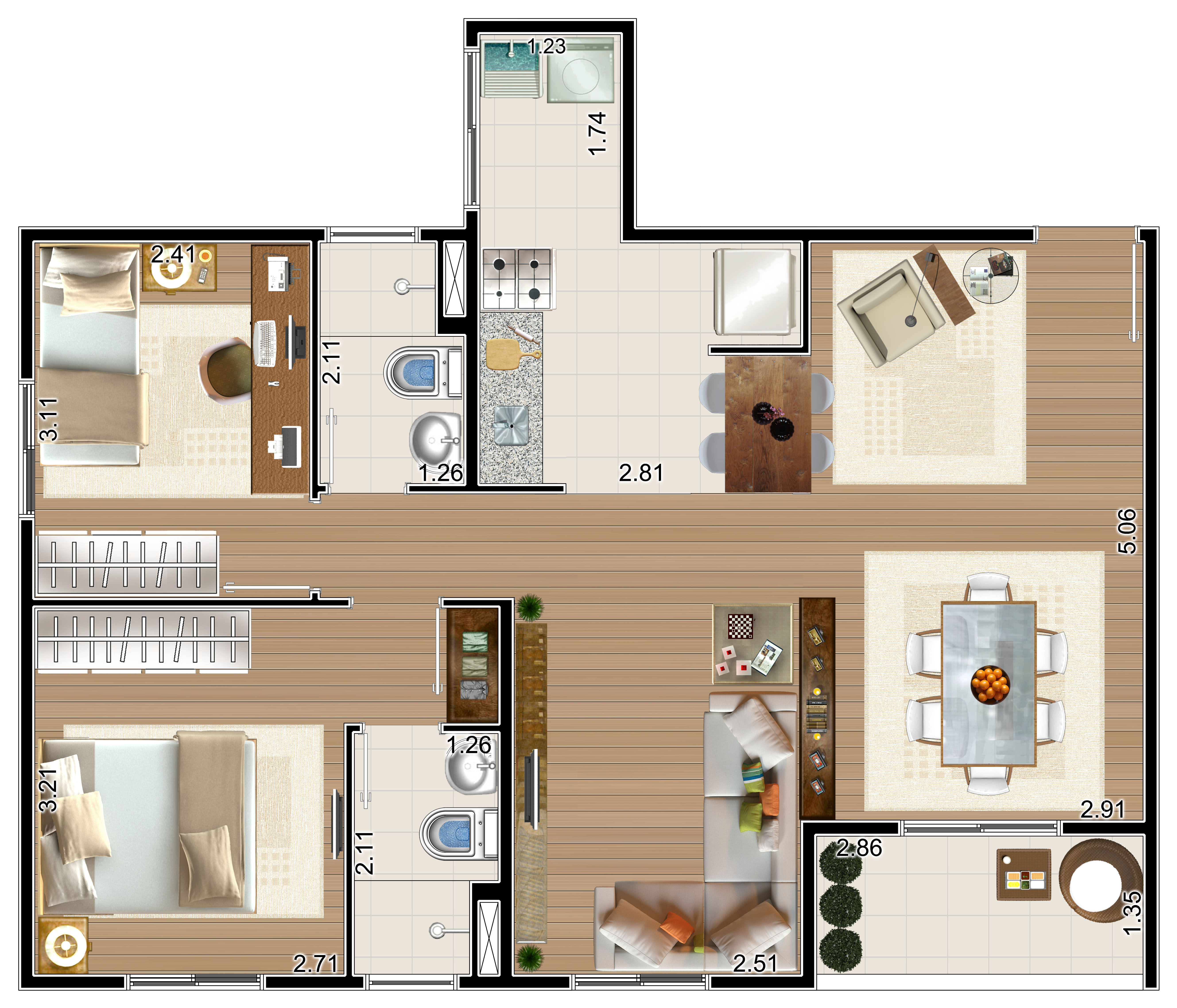Apartamento com 69m²-sala ampliada