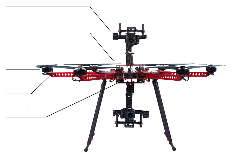 camera gimbal can be mounted top or bottom of drone