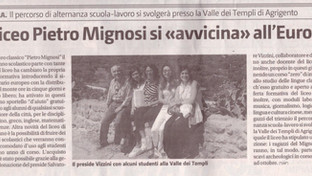 Il liceo Pietro Mignosi si avvicina all'Europa