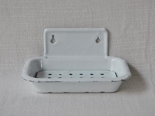 Jabonera enlozada blanca de pared