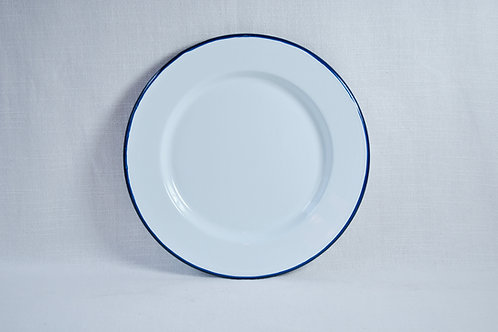 Plato blanco 25cm borde negro, azul o rojo