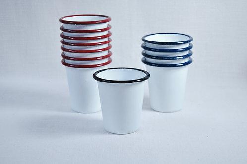 Vaso blanco borde rojo, azul o negro
