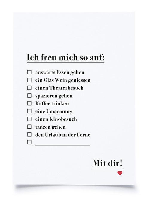 """Postkarte A6 """"ICH FREU MICH"""" von Fidea Design"""