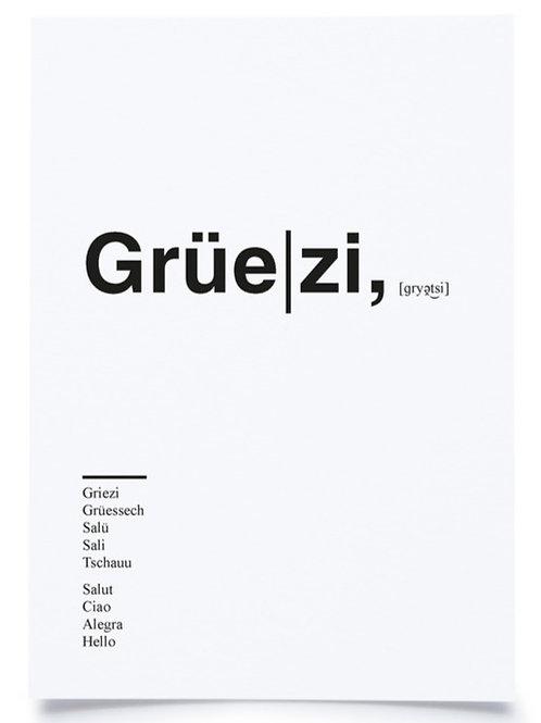 "Postkarte A6 ""GRÜEZI"" von Fidea Design"