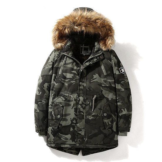 Camouflage Parka With Faux Fur Hood