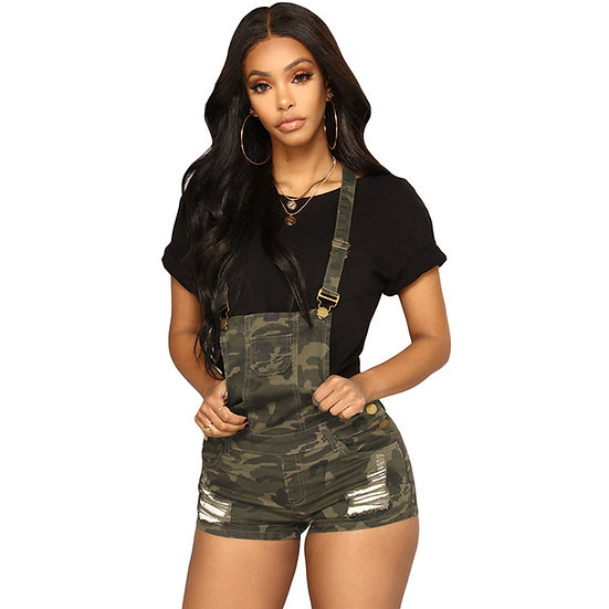 Ripped Denim Camo Jumpsuit Shorts