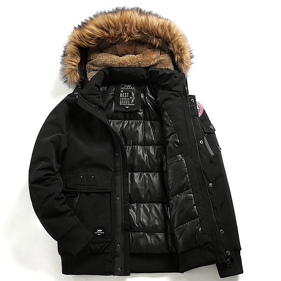 Military Style Parka With Detachable Fur Hood