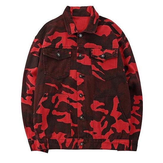 Red Camo Denim Jacket