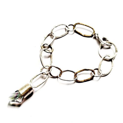 Ręcznie kuta bransoleta z kryształem