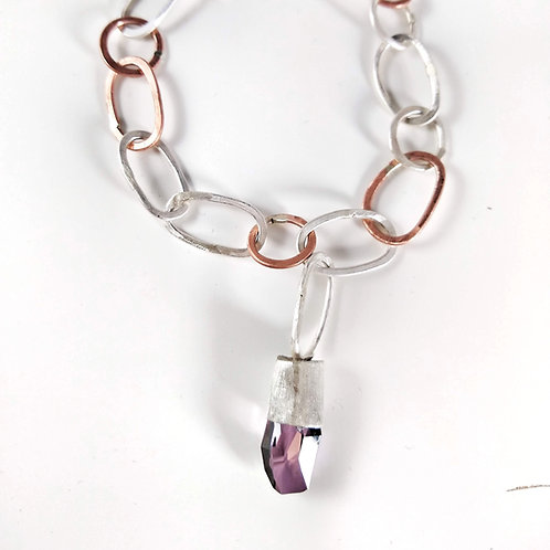 Bransoleta z fioletowym kryształem
