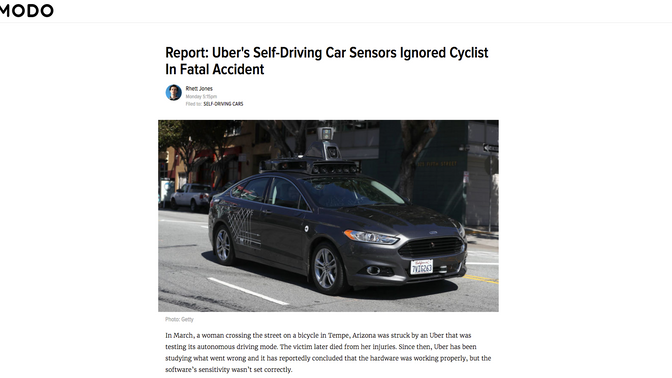 Gizmodo: Uber's Self-Driving Car Sensors Ignored Cyclist In Fatal Accident