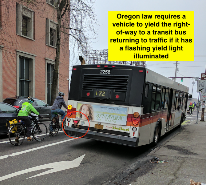 Do buses have the right-of-way over bicyclists in the bike lane in Oregon?