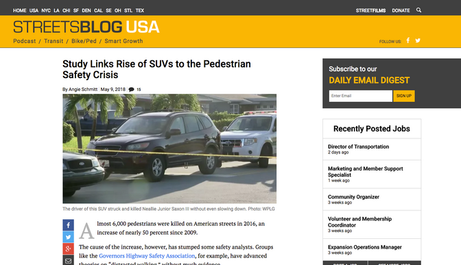 StreetsBlog USA: Study Links Rise of SUVs to the Pedestrian Safety Crisis