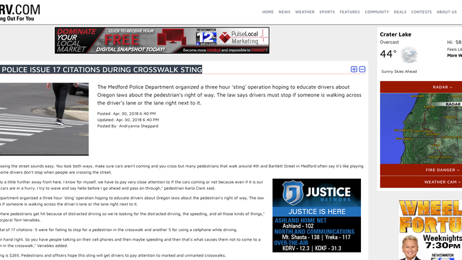 KDRV: MEDFORD POLICE ISSUE 17 CITATIONS DURING CROSSWALK STING