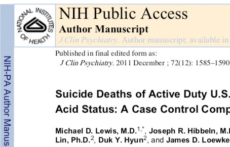 Suicide Deaths of Active Duty U.S. Military and Omega-3 Fatty Acid Status: A Case Control Comparison