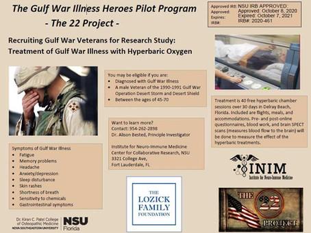 Gulf War Illness HBOT Help Available to Veterans