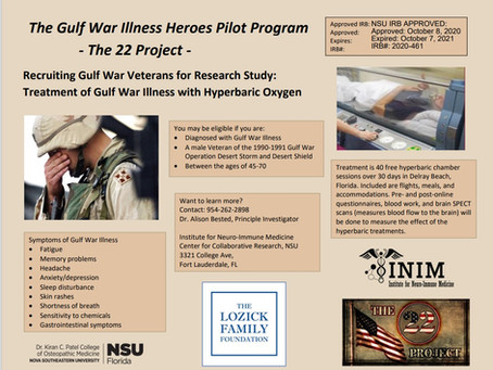 Gulf War Illness HBOT Help Available to Veterans