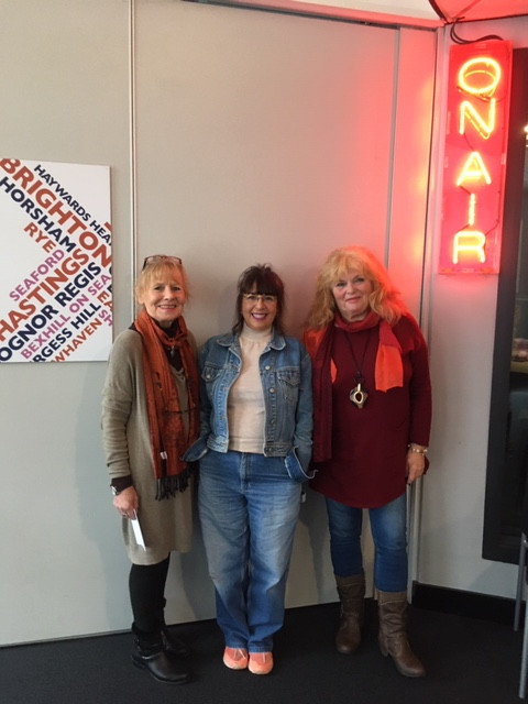 Wendy and Mopsy with Jani barnet at BBC Radio Sussex