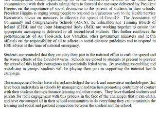 Press Release on Covid-19 from second-level school management bodies