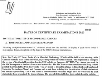 State Examinations Timetable ***UPDATE***