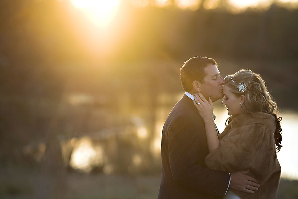 Sunset Wedding Portrait of bride in fur jacket in Tallahassee Florida by Inga Finch Photography