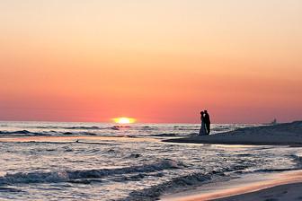 Best Sunset Beach Wedding Portrait at Carillon Beach by destination photographer, Inga Finch Photography