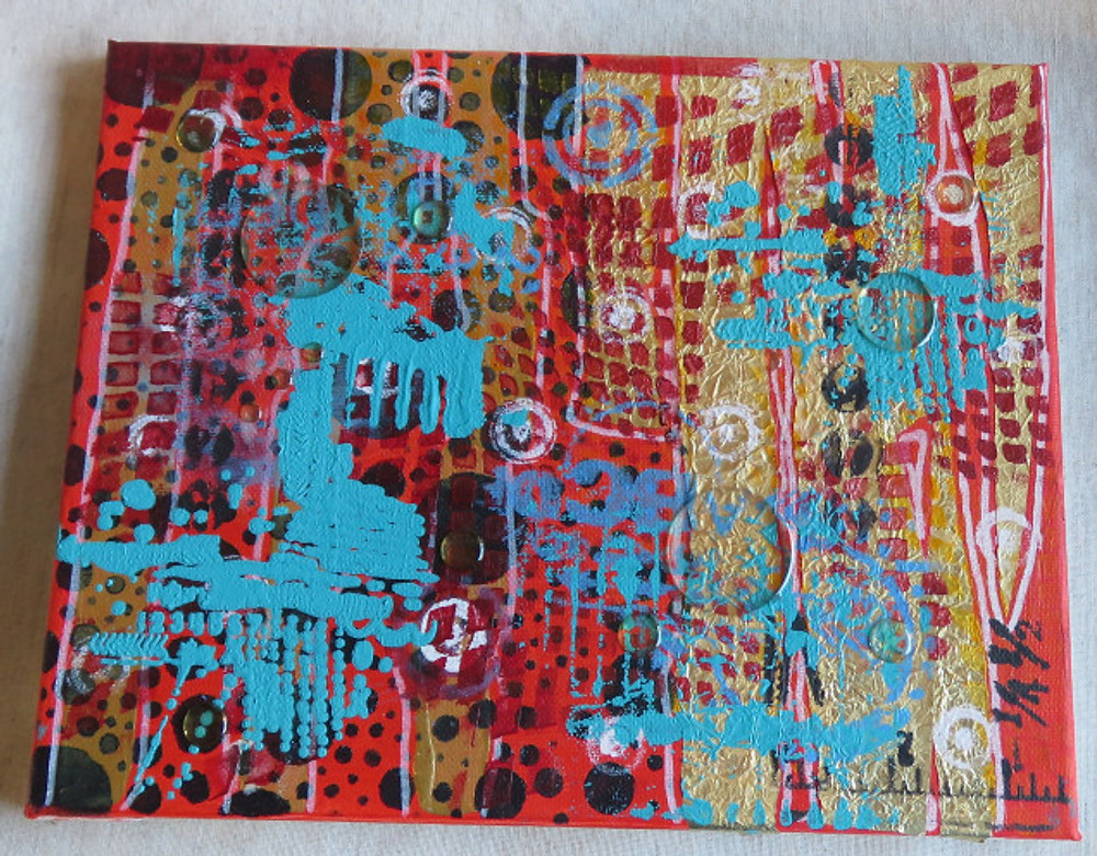 papier, verven en siliconen cirkels op canvas