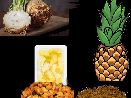 Knolselderij, ananas, kerrie  (en kip )