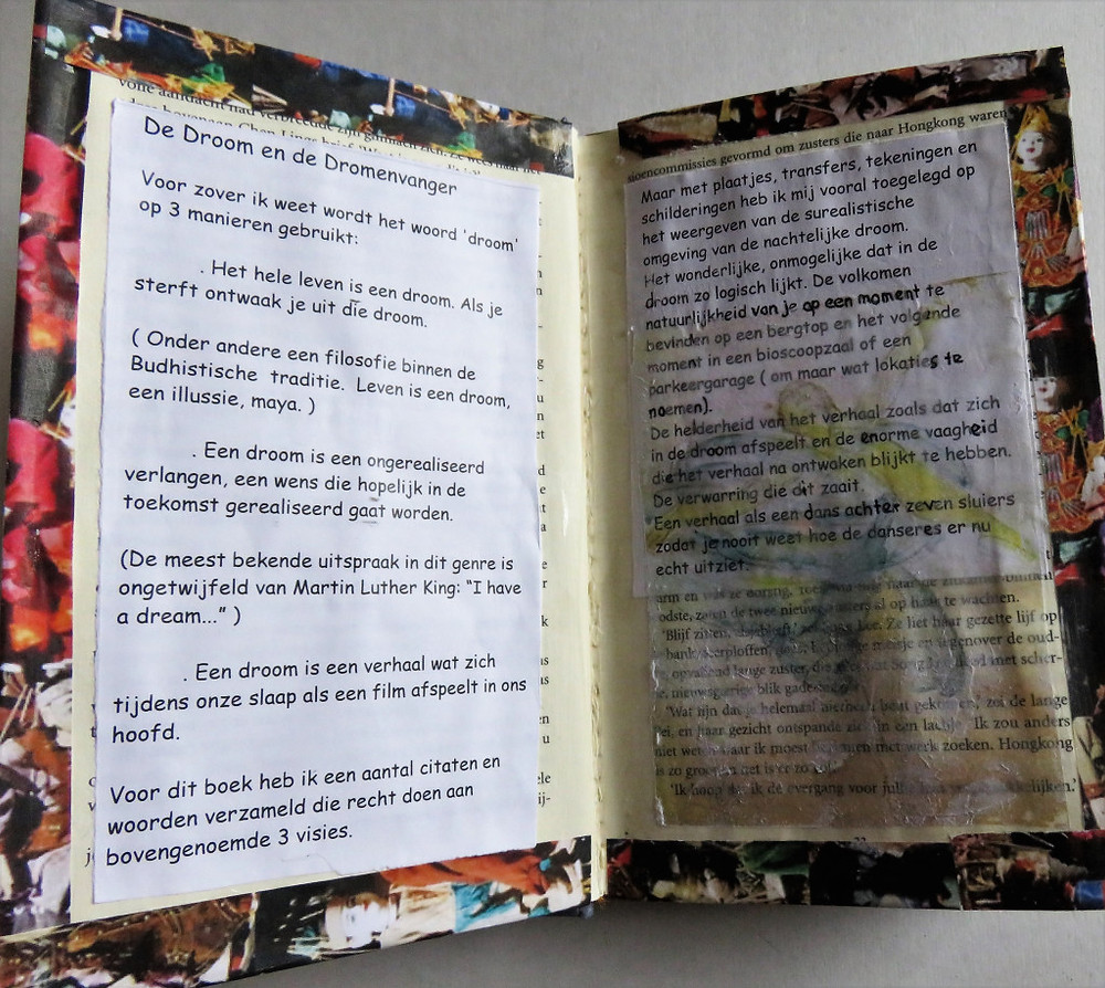 I used clear gesso in all of the book, on this page an imagetransfer
