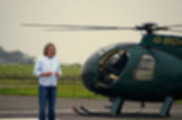 James May with helicopter G-BIOA