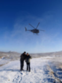 Helicopter on snowy Dartmoor