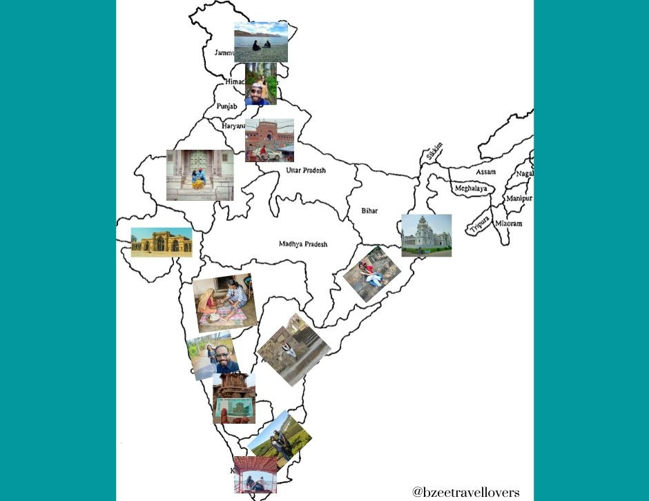 Map collage india map collage